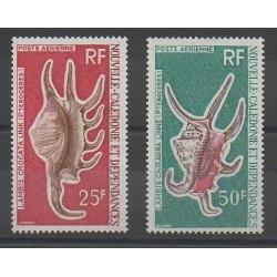 Nouvelle-Calédonie - Poste aérienne - 1972 - No PA129/PA130 - Coquillages