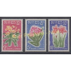 Stamps - Theme flowers - Cambodia - 1961 - Nb 104/106
