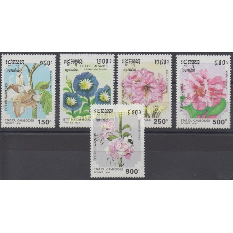 Cambodge - 1993 - No 1107/1111 - Fleurs