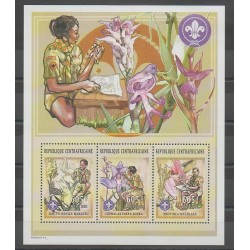Central African Republic - 2002 - Nb 1833/1835 - Scouts - Orchids