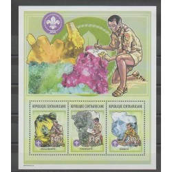 Central African Republic - 2002 - Nb 1842/1844 - Scouts - Minerals - Gems