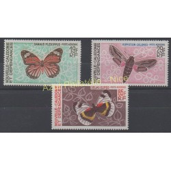 New Caledonia - Airmail - 1967 - Nb PA 92/94 - Butterflies