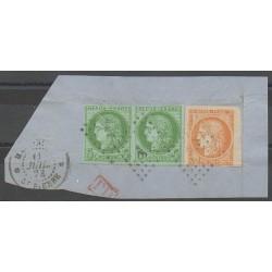 Colonies générales - 1878 - No 13 et paire de 17 sur fragment - Oblitéré