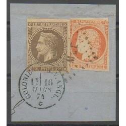 Colonies générales - 1874 - No 9 et 13 sur fragment - Oblitéré
