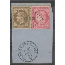 Colonies générales - 1873 - No 9 et 21 sur fragment - Oblitéré