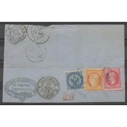 Colonies générales - 1873 - No 4 et 10 et 13 sur fragment - Oblitéré