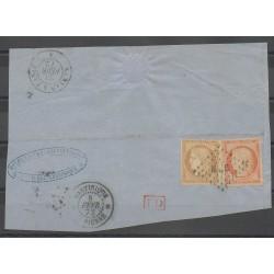 Colonies générales - 1872 - No 11 et 13 sur fragment - Oblitéré