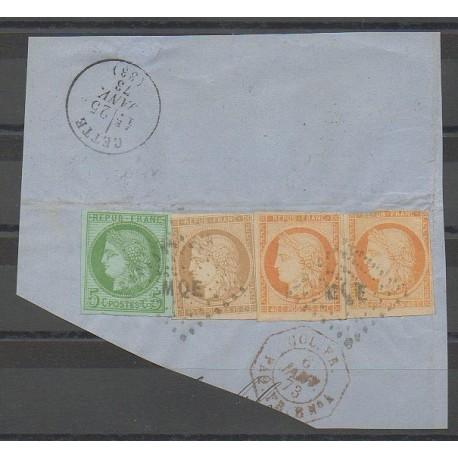 Colonies générales - 1873 - No 13 et 13 et 17 et 22 sur fragment - Oblitéré