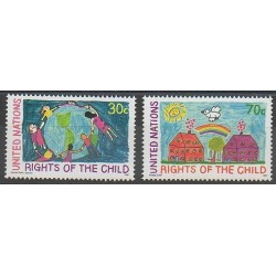 Nations Unies (ONU - New-York) - 1991 - No 591/592 - Enfance - Dessins d'enfants