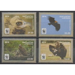 Kirghizistan - 2014 - No 649/652 - Oiseaux - Espèces menacées - WWF