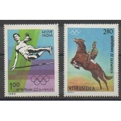 Inde - 1980 - No 632/633 - Jeux Olympiques d'été
