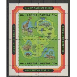 Zambia - 1972 - Nb BF2 - Mamals - Endangered species - WWF