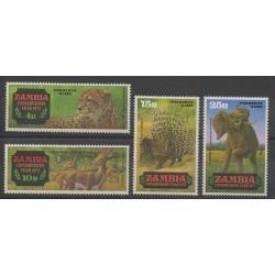 Zambia - 1972 - Nb 77/80 - Mamals - Endangered species - WWF