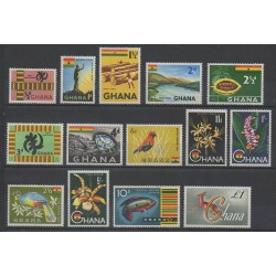 Ghana - 1959 - Nb 41/53A - Animals - Flowers - Minerals - Gems