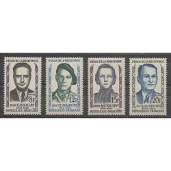 France - Poste - 1958 - No 1157/1160 - Célébrités - Seconde Guerre Mondiale