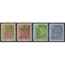 Suisse - 1974 - No 972/975 - Fruits - Fleurs