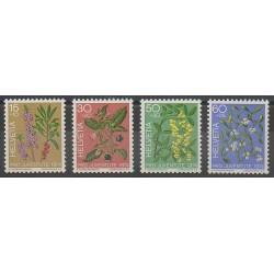 Suisse - 1974 - No 972/975 - Fruits - Fleurs