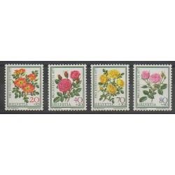 Swiss - 1977 - Nb 1042/1045 - Roses