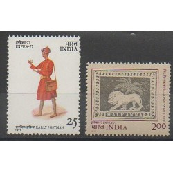 Inde - 1977 - No 532/533 - Exposition - Service postal - Mammifères