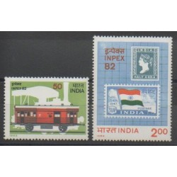 India - 1982 - Nb 747/748 - Stamps on stamps - Flags - Trains