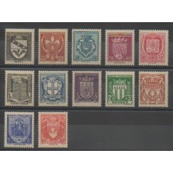 France - Poste - 1941 - Nb 526/537 - Coats of arms
