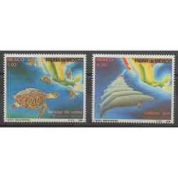 Mexique - 1982 - No 978/979 - Reptiles - Animaux marins