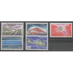 France - Poste - 1974 - No 1787 - 1802/1805 - Hélicoptères - Chemins de fer - Aviation