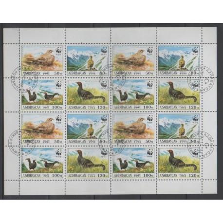Azerbaïdjan - 1994 - No 163/166 - Petite feuille - Oiseaux - Espèces menacées - WWF - Oblitéré
