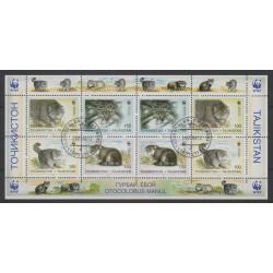 Tadjikistan - 1996 - No 86/89 - Petite feuille - Chats - Espèces menacées - WWF - Oblitéré