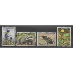 Belgique - 1974 - No 1734/1737 - Insectes - Fleurs - Mammifères