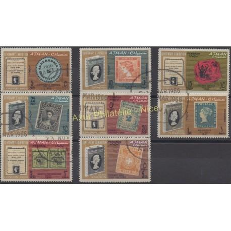 Ajman - 1965 - No 37/44 - Timbres sur timbres - Oblitéré