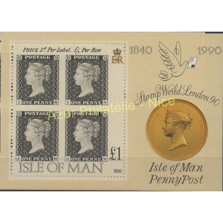 Man (Isle of) - 1990 - Nb BF 13 - Stamps on stamps