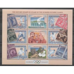 Kyrgyzstan - 2002 - Nb 195/200 - Summer Olympics - Stamps on stamps