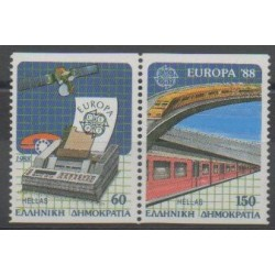 Greece - 1988 - Nb 1667a - Trains - Telecommunications - Europa