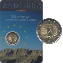 Andorre - 2014 - Coincard : 20ème anniv de l'entrée d'Andorre au conseil de l'Europe