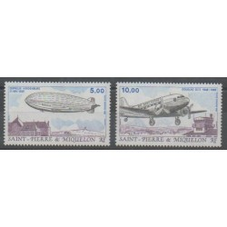 Saint-Pierre and Miquelon - Airmail - 1988 - Nb PA66/PA67 - Hot-air balloons - Airships - Planes