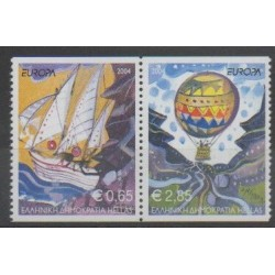 Greece - 2004 - Nb 2205/2206 - Hot-air balloons - Airships - Boats - Europa