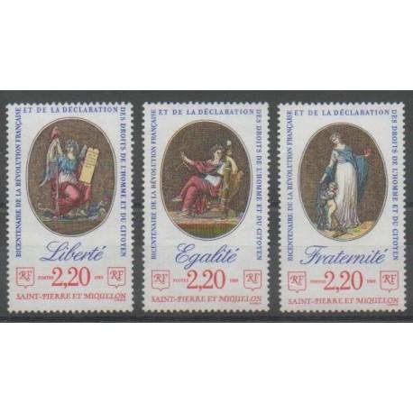 Saint-Pierre et Miquelon - 1989 - No 499/501 - Révolution Française