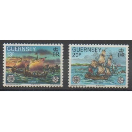 Guernesey - 1982 - No 248/249 - Navigation - Histoire - Europa