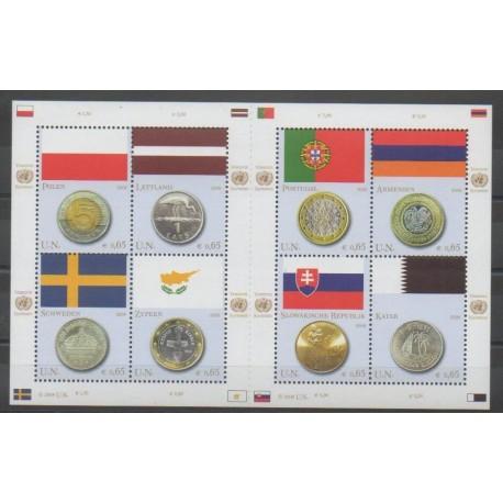 Nations Unies (ONU - Vienne) - 2008 - No 545/552 - Drapeaux - Monnaies, billets ou médailles