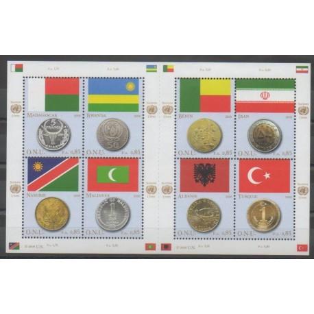 Nations Unies (ONU - Genève) - 2008 - No 602/609 - Drapeaux - Monnaies, billets ou médailles