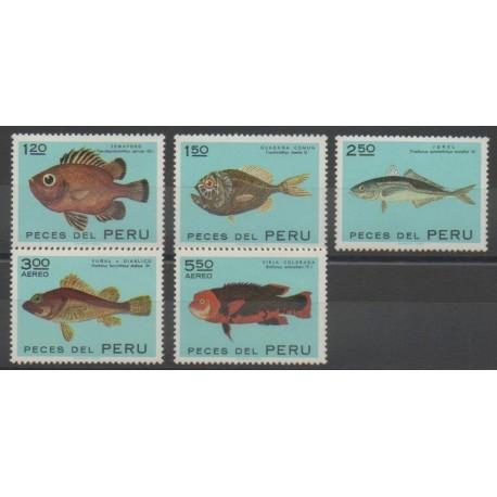 Pérou - 1972 - No 560/562 - PA312/PA313 - Animaux marins