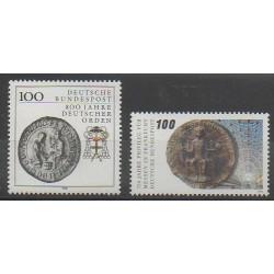 Allemagne occidentale (RFA) - 1990 - No 1283/1284 - Monnaies, billets ou médailles