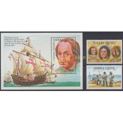 Timbres - Thème Christophe Colomb - Sierra Leone - 1992 - No 1592/1593 - BF 203