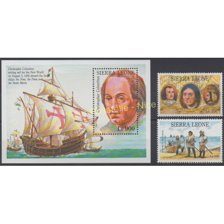 Stamps - Theme Christophe Colomb - Sierra Leone - 1992 - Nb 1592/1593 - BF 203