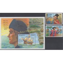 Timbres - Thème Christophe Colomb - Maldives - 1992 - No 1530/1531 - BF 245