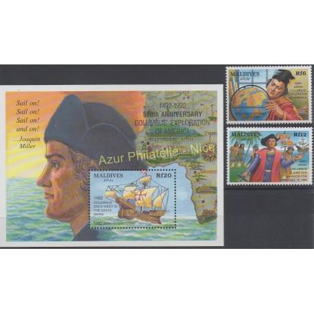 Stamps - Theme Christophe Colomb - Maldives - 1992 - Nb 1530/1531 - BF 245