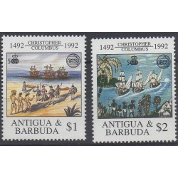 Timbres - Thème Christophe Colomb - Antigua et Barbuda - 1992 - No 1473/1474