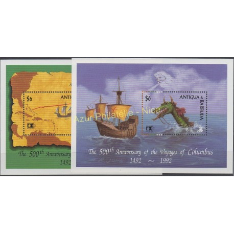 Timbres - Thème Christophe Colomb - Antigua et Barbuda - 1992 - No BF 229 - BF 233