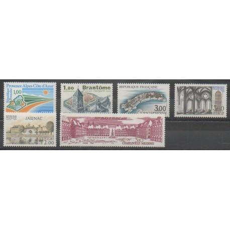 France - Poste - 1983 - No 2252/2255 - 2287/2288 - Sites - Monuments